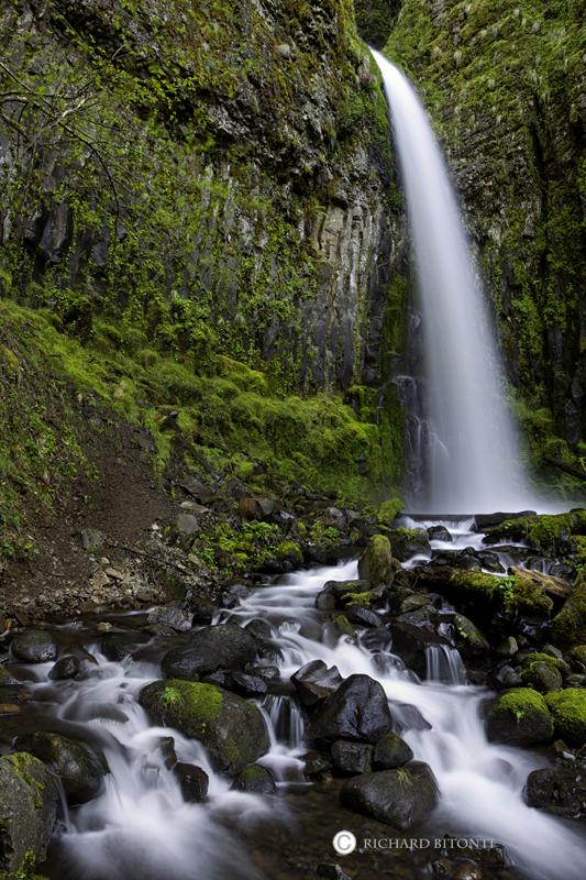 dry creek falls, columbia river gorge, oregon, waterfall, cascade locks, , photo