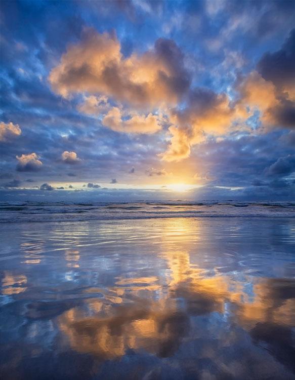 Seaside, Oregon, Beach, reflection, sunset, , photo
