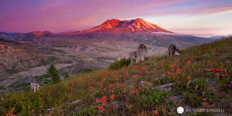 Mt. st. Helens, washington, sunset, national scenic area,, photo